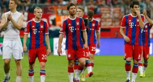 Bayern Munich's Manuel Neuer, Sebastian Rode, Xabi Alonso and Javi Martinez look dejected at the end of their Champions League semi-final. Photograph: Michaela Rehle/Reuters