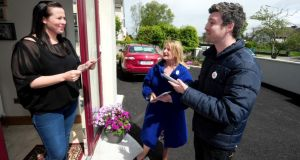 Séamus Carey and Regina Bushell from Westmeath, canvassing for Yes Equality,   speaking to  Jennifer O'Meara  from Athlone. Photograph: James Flynn/APX