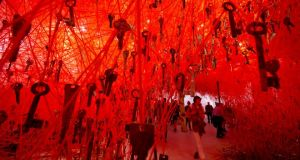 Japanese pavilion: thousands of keys hang as part of Chiharu Shiota's installation The Key in the Hand, at the 56th Biennale of Arts, in Venice. Photograph: Domenico Stinellis/AP