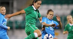 Ireland's Fiona O'Sullivan scores a goal for Ireland against Slovenia last year. Photograph: Cathal Noonan/Inpho