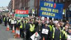 Members of the NBRU and & SIPTU unions during a march in Dublin city centre over plans to put 10 per cent of public bus routes out to private tender. Photograph: Gareth Chaney/Collins