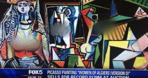 A screengrab of the Fox5NYshows the breasts of the three female figures of the painting blurred out on the Picasso piece.