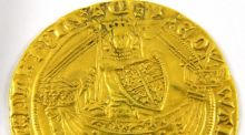 This gold 15th-century Edward III 'Noble' coin , estimated at €2,000-€4,000, is for sale at Weldon Auctioneers in Temple Bar, Dublin