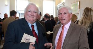 Tim Pat Coogan and Adhamhnán Ó Súilleabháin, at the launch of the latter's new book, Domhnall Ua Buachalla: Rebellious Nationalist, Reluctant Governor. Photograph: Nick Bradshaw