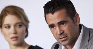 Colin Farrell talks during a press conference for the film The Lobster at the 68th Cannes Film Festival in Cannes, southeastern France. Photograph: Loic Venance/AFP