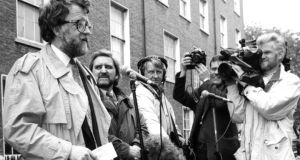 'Irish Press' journalist Colm Rapple addresses a rally outside Leinster House, which later moved to Burgh Quay where 20 of his colleagues, who had staged a sit-in protest over his dismissal, finally ended their occupation. Photograph: Matt Kavanagh/The Irish Times