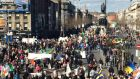 Protesters against water charges gather on O'Connell bridge in March. Photograph: Dara MacDonaill/Irish Times