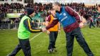 Leitrim manager Shane Ward shakes hands with Kevin Walsh of Galway after the Connacht Senior Football Championship quarter-final at Páirc Seán Mac Diarmad. Photograph: James Crosbie/Inpho.