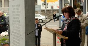 Anne Cadwallader speaks at the monument to commemorate the 41st anniversary of the Dublin and Monaghan bombings on Talbot Street. Photograph: Cyril Byrne/The Irish Times