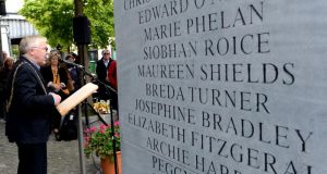 Lord Mayor of Dublin Christy Burke at the monument to commemorate the 41st anniversary of the  Dublin and Monaghan bombings on Talbot Street at the weekend. Photograph: Cyril Byrne/The Irish Times