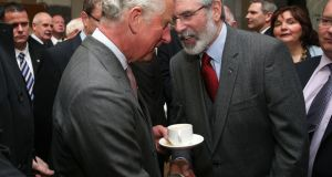 Britain's Prince Charles with Sinn Féin's Gerry Adams. Photograph: Sean Curtin Fusionshooters