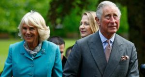 Prince Charles and Camilla, arrive at the National University of Ireland Galway. Photograph: Photo by Darren Staples/WPA Pool/Getty Images