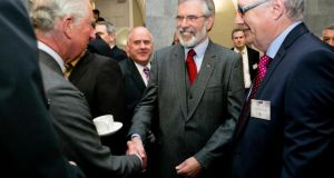 The Prince of Wales meets Sinn Féin President Gerry Adams at  NUI Galway. Photograph: Chris Bellew /Fennell Photography.