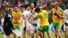 Tempers flare between Donegal and Tyrone players during Sunday's intense Ulster Championship match. Photograph: Cathal Noonan/Inpho©INPHO/Cathal Noonan