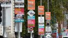Which way? Yes and No posters on Merrion Street, Dublin. Photograph: Cyril Byrne / The Irish Times