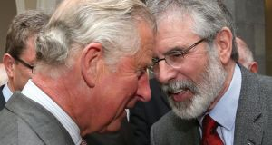 Gerry Adams's  handshake with Prince Charles  came after Sinn Féin held a series of meetings with a number of victims' groups in the North as well as sceptical elements within the party on both sides of the Border. Photograph: Brian Lawless/AFP/Getty Images