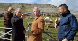 Britain's Prince Charles listens as farmer Pat Nagle talks during his visit to the Burren. Photograph: John Still/AFP/Getty Images