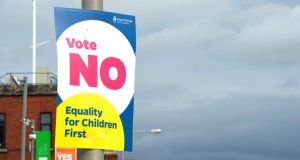 'Wildly exaggerated fear tactics': A poster advocating a No vote in the marriage referendum. Photograph: Aidan Crawley