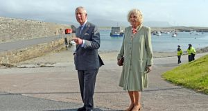 Prince Charles and the Duchess of Cornwall at Mullaghmore Co Sligo on Wednesday. Photograph: Eric Luke/The Irish Times