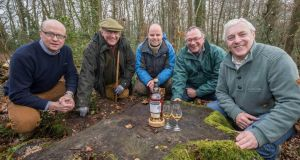 Left to right: Kevin O'Gorman, master of maturation; Michael Gabbett, forest owner; Patrick Purser, forestry consultant; Billy Leighton, master blender; 