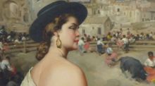 Detail from 'Spanish Lady at Bullfight', a painting at the Adams of Blackrock auction of European and  Irish paintings, silver and furniture