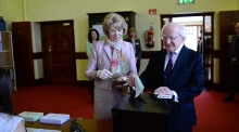 President Higgins votes in the Phoenix Park