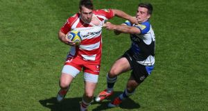 Brendan Macken, seen here in action for  Gloucester against Bath's George Ford, will join Wasps next season. Photo:  Michael Steele/Getty Images