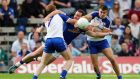 Cavan's Eugene Keating locks horns with Kieran Duffy and Drew Wylie of Monaghan in the Ulster Championship two years. Photograph: Donall Farmer/Inpho