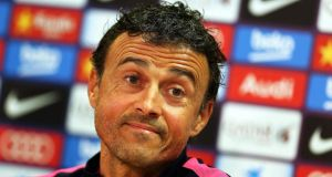 "Barcelona's head coach Luis Enrique: ""I have three matches ahead of me and I will talk once the season is over."" Photo: Toni Albir/EPA"