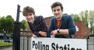 Kit Geraghty and Darragh Staunton pictured outside a polling station in Ranelagh. Photograph: DAVE MEEHAN
