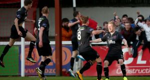 Daryl Horgan (far right)   celebrates scoring his and Dundalk's first goal in the SSE Airtricity Premier Division game against St Patrick's  Athletic at Richmond Park. Photo: Donall Farmer/Inpho