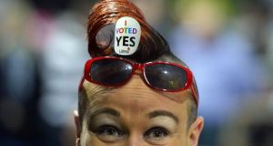 Tally counter Rhonda Donaghy  at the RDS count centre. Photograph: Charles McQuillan/Getty Images