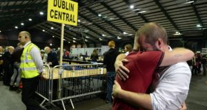 Michael Barron founder of BeLonG To  with Jaime Nanci at the count centre at the RDS. Photograph: Cyril Byrne/The Irish Times