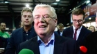 Eamon Gilmore celebrates with Yes campaigners
