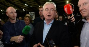 Eamon Gilmore at the count centre in the RDS. Photograph: Cyril Byrne/The Irish Times