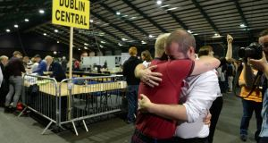 Michael Barron, founder of BeLonG To, with Jaime Nanci at the count centre at the RDS as results in the same-sex marriage vote emerge. Photograph: Cyril Byrne/The Irish Times