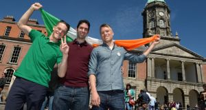 From left: Jay Lassiter, John Keating and Trevor Powell, from the USA in the court yard at Dublin Castle. Photograph: Dara Mac Dónaill/The Irish Times.