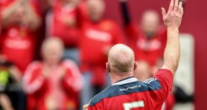 Munster's Paul O'Connell salutes the crowd after the Guinness Pro 12 semi-final at  Thomond Park. Photo: James Crombie/Inpho