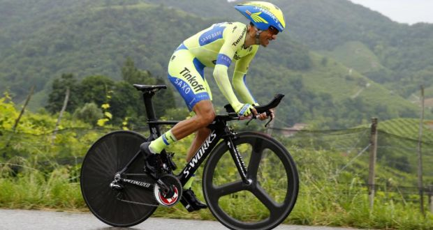 Spanish rider Alberto Contador (Tinkoff Saxo) in action during the stage 14  time trial a61507fcc