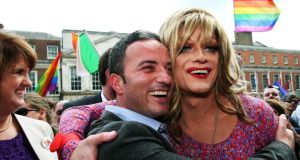 'Panti Bliss' aka Rory O'Neill with John Lyons TD at the Central Count Centre in Dublin Castle, Dublin, where the result of the same sex marriage  referendum was announced. Photograph: PA