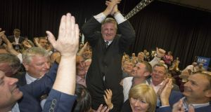 Fianna Fáil's newest TD Bobby Aylward celebrates after winning the Carlow-Kilkenny by-election. Photograph: Dylan Vaughan