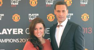 "Rio Ferdinand has said he has been ""overwhelmed"" by the support he has received in the wake of the death of his wife, Rebecca Ellison. Photograph: PA"