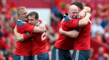 Munster's John Ryan, Ronan O'Mahony, Paul O'Connell and Donnacha Ryan celebrate at the final whistle at Thomond Park. Photograph: Ryan Byrne/Inpho