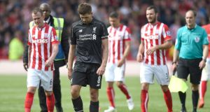 Liverpool were beaten 6-1 by Stoke City in Steven Gerrard's final appearance. Photograph: PA