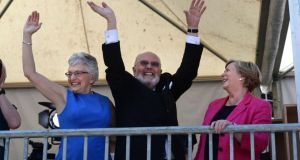 David Norris with Katherine Zappone, and Minister for Justice and Equality Frances Fitzgerald TD in the court yard at Dublin Castle. Photograph: Dara Mac Dónaill
