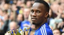 Chelsea's Ivorian striker Didier Drogba after yesterday's game with Sunderland, following which   Chelsea were officially crowned the 2014-2015 Premier League champions. Photograph:  Ben Stansall/ AFP