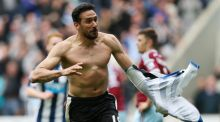 Newcastle United's Jonas Gutierrez celebrates scoring his team's second goal at St James's Park. Photograph: AFP Photo / Ian MacNicol