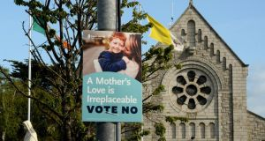"A No campaign poster  in Dublin: ""This  same Government presided over the disintegration of mental health services – everything from removing guidance counsellors from school, often the first to pick up serious problems – to decimating the psychiatric services."" The hypocrisy is stunning.  Photograph: Cyril Byrne/The Irish Times"
