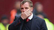 Liverpool manager Brendan Rodgers reacts during the drubbing by  Stoke City at the Britannia Stadium. Photograph: Dave Thompson/Getty Images