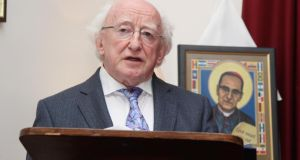 "President Michael D Higgins recalled that Archbishop Romero was known in El Salvador as ""the bishop walks with the people"". Photograph: John Mc Elroy"